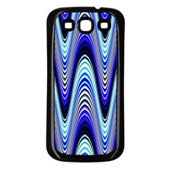 Waves Wavy Blue Pale Cobalt Navy Samsung Galaxy S3 Back Case (black)