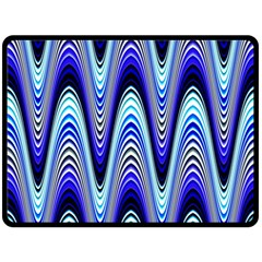 Waves Wavy Blue Pale Cobalt Navy Double Sided Fleece Blanket (large)