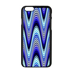 Waves Wavy Blue Pale Cobalt Navy Apple Iphone 6/6s Black Enamel Case