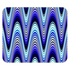 Waves Wavy Blue Pale Cobalt Navy Double Sided Flano Blanket (small)