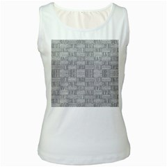 Texture Wood Grain Grey Gray Women s White Tank Top