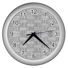 Texture Wood Grain Grey Gray Wall Clocks (silver)