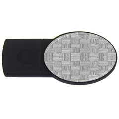 Texture Wood Grain Grey Gray Usb Flash Drive Oval (4 Gb)