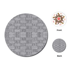 Texture Wood Grain Grey Gray Playing Cards (round)