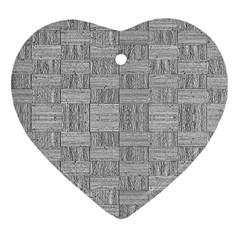 Texture Wood Grain Grey Gray Heart Ornament (two Sides)
