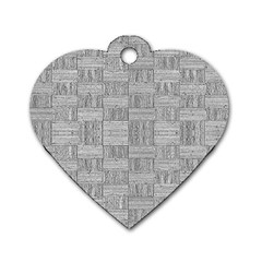 Texture Wood Grain Grey Gray Dog Tag Heart (one Side)