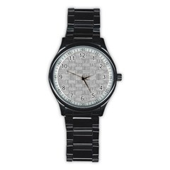 Texture Wood Grain Grey Gray Stainless Steel Round Watch