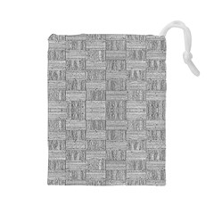 Texture Wood Grain Grey Gray Drawstring Pouches (large)