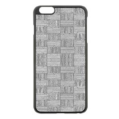 Texture Wood Grain Grey Gray Apple Iphone 6 Plus/6s Plus Black Enamel Case
