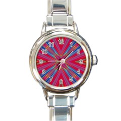 Burst Radiate Glow Vivid Colorful Round Italian Charm Watch