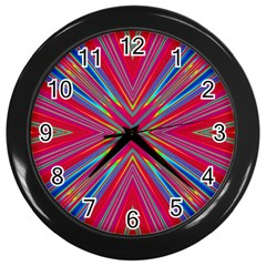 Burst Radiate Glow Vivid Colorful Wall Clocks (black)