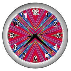 Burst Radiate Glow Vivid Colorful Wall Clocks (silver)
