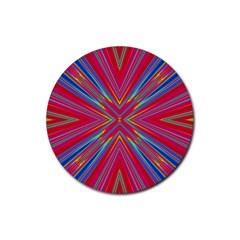 Burst Radiate Glow Vivid Colorful Rubber Round Coaster (4 Pack)