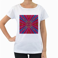 Burst Radiate Glow Vivid Colorful Women s Loose Fit T Shirt (white)