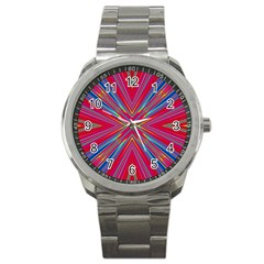Burst Radiate Glow Vivid Colorful Sport Metal Watch
