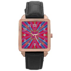 Burst Radiate Glow Vivid Colorful Rose Gold Leather Watch