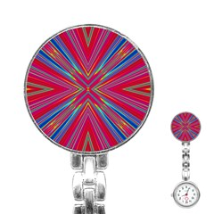 Burst Radiate Glow Vivid Colorful Stainless Steel Nurses Watch