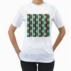 Fabric Textile Texture Green White Women s T Shirt (white) (two Sided)