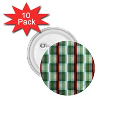 Fabric Textile Texture Green White 1 75  Buttons (10 Pack)