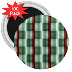 Fabric Textile Texture Green White 3  Magnets (100 Pack)