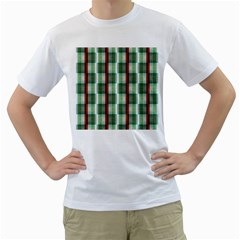 Fabric Textile Texture Green White Men s T Shirt (white) (two Sided)