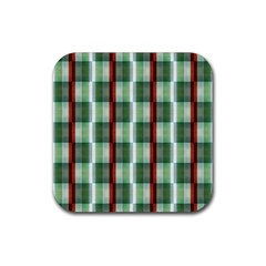 Fabric Textile Texture Green White Rubber Square Coaster (4 Pack)