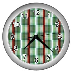 Fabric Textile Texture Green White Wall Clocks (silver)