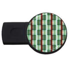 Fabric Textile Texture Green White Usb Flash Drive Round (2 Gb)