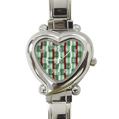 Fabric Textile Texture Green White Heart Italian Charm Watch