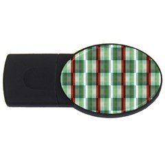 Fabric Textile Texture Green White Usb Flash Drive Oval (4 Gb)