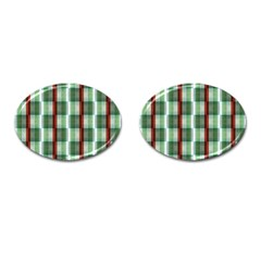 Fabric Textile Texture Green White Cufflinks (oval) by Nexatart