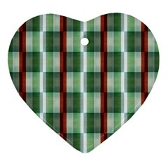 Fabric Textile Texture Green White Heart Ornament (two Sides)