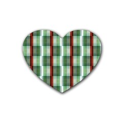 Fabric Textile Texture Green White Heart Coaster (4 Pack)
