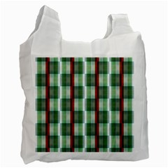 Fabric Textile Texture Green White Recycle Bag (one Side)