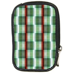 Fabric Textile Texture Green White Compact Camera Cases by Nexatart