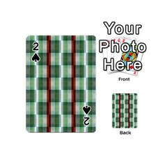Fabric Textile Texture Green White Playing Cards 54 (mini)