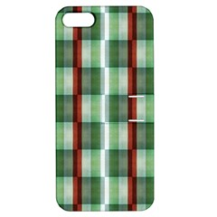Fabric Textile Texture Green White Apple Iphone 5 Hardshell Case With Stand