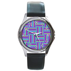 Geometric Textile Texture Surface Round Metal Watch