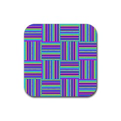 Geometric Textile Texture Surface Rubber Square Coaster (4 Pack)