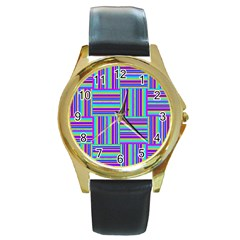 Geometric Textile Texture Surface Round Gold Metal Watch