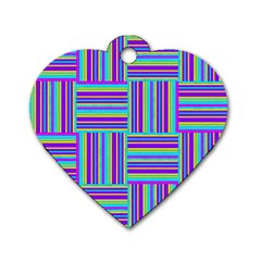 Geometric Textile Texture Surface Dog Tag Heart (one Side)
