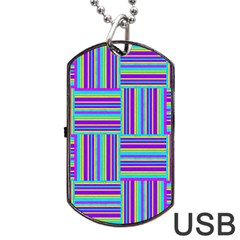 Geometric Textile Texture Surface Dog Tag Usb Flash (two Sides)