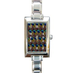 Peacock Feathers Bird Plumage Rectangle Italian Charm Watch