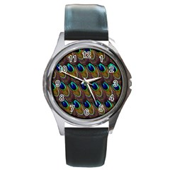 Peacock Feathers Bird Plumage Round Metal Watch