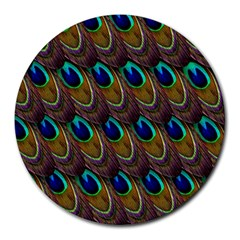 Peacock Feathers Bird Plumage Round Mousepads
