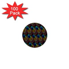 Peacock Feathers Bird Plumage 1  Mini Buttons (100 Pack)