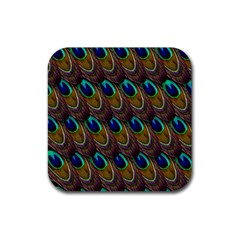 Peacock Feathers Bird Plumage Rubber Square Coaster (4 Pack)