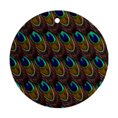 Peacock Feathers Bird Plumage Round Ornament (two Sides)