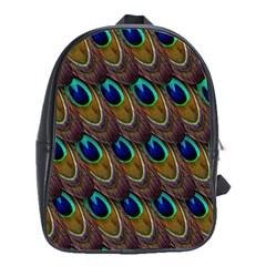 Peacock Feathers Bird Plumage School Bag (large)