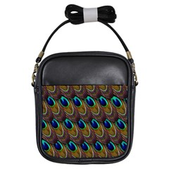Peacock Feathers Bird Plumage Girls Sling Bags